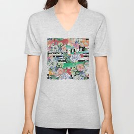 Trendy, Modern Watercolor Floral Pattern With Stripes Unisex V-Neck