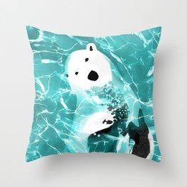 Playful Polar Bear In Turquoise Water Design Throw Pillow