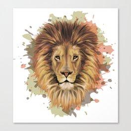 Stylized Lion Portrait | Digital animal art print Canvas Print