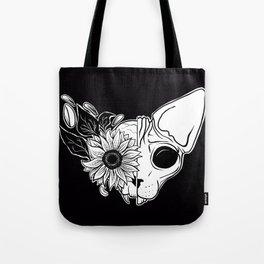 Sunflower Sphynx Skull - Hairless Cat - Creepy Kitten Tote Bag