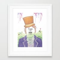 willy wonka Framed Art Prints featuring Wonka by Mon Chaton