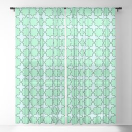 Mint Turquoise Pattern Sheer Curtain