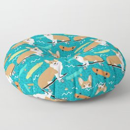 corgi skateboard dog, dog - corgi, corgi blanket,corgi decor, corgis, cute dog Floor Pillow