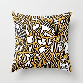black doodle on orange Throw Pillow