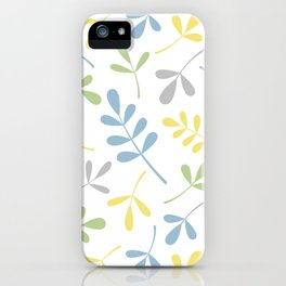 Assorted Leaf Silhouettes Blue Green Grey Yellow White iPhone Case
