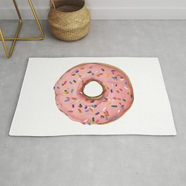 Strawberry Frosted Doughnut with Sprinkles Rug