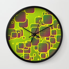 Olive green squares Wall Clock
