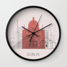 Dublin Landmarks Poster Wall Clock