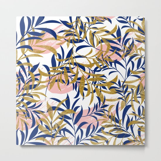 Pattern of gold and blue leaves Metal Print
