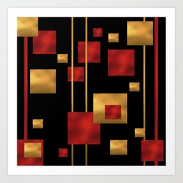 Red and Gold Foil Blocks Art Print