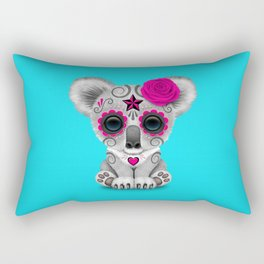Pink and Blue Day of the Dead Sugar Skull Baby Koala Bear Rectangular Pillow