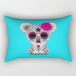 Pink and Blue Day of the Dead Sugar Skull Baby Koala Bear Rectangular Pillow