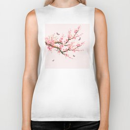 Pink Cherry Blossom Dream Biker Tank