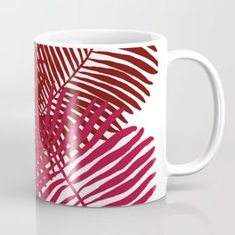 Modern Tropical Palm Leaves Painting rose on white background Coffee Mug
