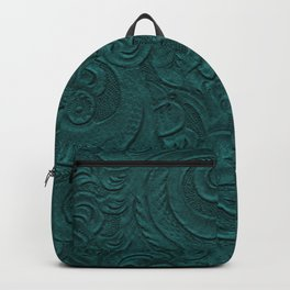 Deep Teal Tooled Leather Backpack