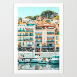 Cannes Downtown City Print, Cannes Skyline, Old Town French Riviera, Yachts And Boats, City Marina Port In France Art Print