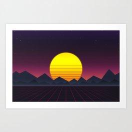 Vaporwave\\Mountain Art Print
