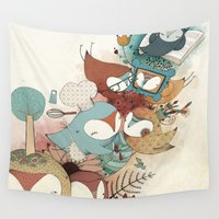 owls Wall Tapestries featuring Owls by Laura Pastor