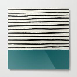 Dark Turquoise & Stripes Metal Print