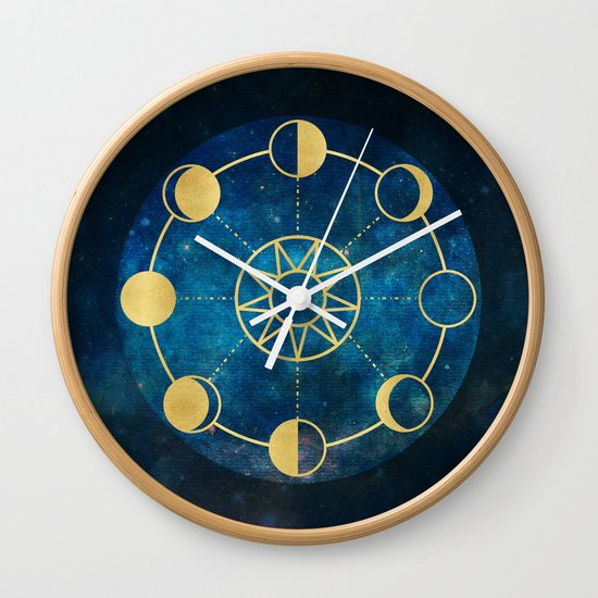 Gold Moon Phases Sun Stars Night Sky Navy Blue Wall Clock by