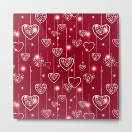 Bright openwork hearts on a red background. Metal Print