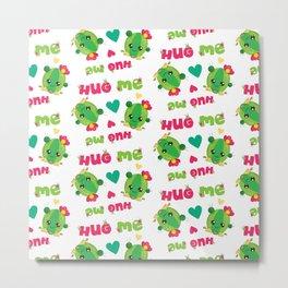 Kawaii Cactus Neck Gaiter Hug Me Cactus Neck Gator Metal Print