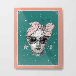 Phrenology head with head scarf. Metal Print