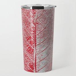 Natural Outlines - Leaf Red & Concrete #635 Travel Mug