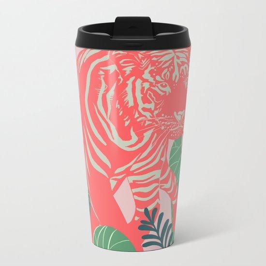 Aloha Tiger, Tiger print, Animal print, jungle print Metal Travel Mug