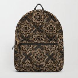 Oriental Tile pattern - Black and Gold Backpack