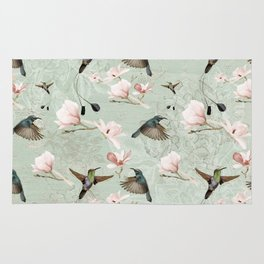 Vintage Watercolor hummingbird and Magnolia Flowers on mint Background Rug