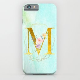 Gold Foil Alphabet Letter M Initials Monogram Frame with a Gold Geometric Wreath iPhone Case