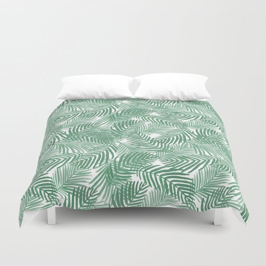 Palm frond tropical vacation green white house plant gender neutral natural organic garden island Duvet Cover