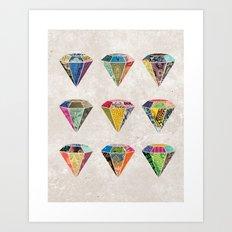 Diamonds Collage Art Print