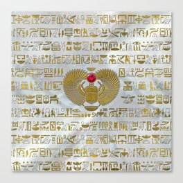 Egyptian Scarab Beetle Gold and Ruby Stone Canvas Print