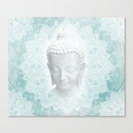 Tibetan Dream Blue White Buddha Mandala Canvas Print