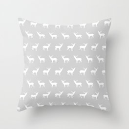 Deer pattern minimal nursery basic grey and white camping cabin chalet decor Throw Pillow