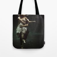 turquoise Tote Bags featuring abyss of the disheartened : V by Heather Landis