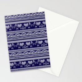 White and Navy Blue Elephant Pattern Stationery Cards