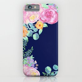 light pink peonies with navy background iPhone Case