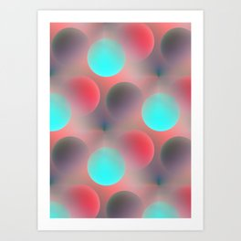 red and turquoise balls -2- Art Print