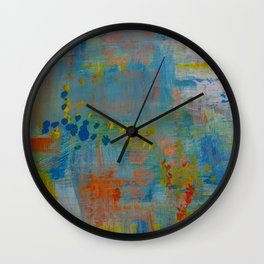Colorful Abstract Wall Art, Teal Blue yellow, Contemporary Home Decor Wall Clock