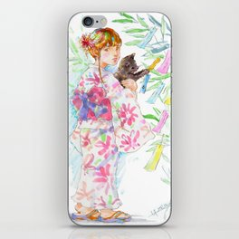 A girl with a kitten - Kimono style vol.4 iPhone Skin