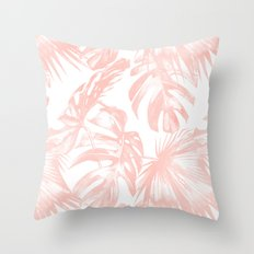 Pink Tropical Palm Leaves Throw Pillow