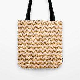 Bisque Gold Glitter Chevron Pattern Tote Bag