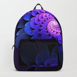 Spiraling Flower Fractal in Blue and Purple Backpack