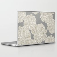 gray pattern Laptop & iPad Skins featuring Creme Roses Pattern - Gray by Sweet Karalina