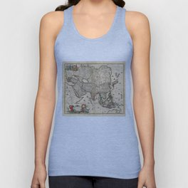 Vintage Map of Asia (1689) Unisex Tank Top