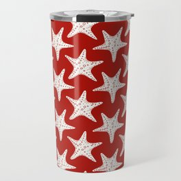 Maritime Red & White Starfish Pattern - Mix & Match with Simplicity of Life Travel Mug