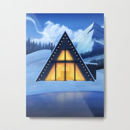 Just a Cabin in the Snow Metal Print
